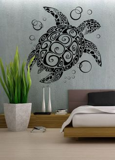 Sea Turtle  - Wall Decal Vinyl Decor Art Sticker Removable Mural Modern Animals Kids