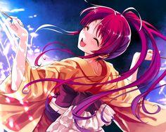 1280x1024 Wallpaper girl, hair, red, kimono, lights, fun