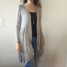 SALE•NWT  ribbed and shirred taupe cardigan Very soft and light ribbed cardigan! This has such a sweet look to it and looks great over tank tops! Wear with your favorite jeans or leggings! Knee length. Modeling the small. Small, medium, large available. 50% rayon, 50% spandex. {please do not buy this listing. Comment size and I will make you your own listing thank you!} Sweaters Cardigans