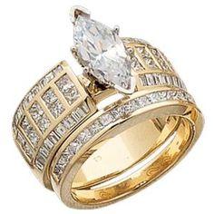 14K Yellow Gold Diamond Semi-Mount Marquise Wedding Ring Set ...
