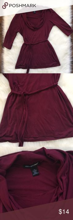 Beautiful belted top Very flattering at waist and hip. Good used condition. Smoke free and pet free home. Jeans and shoes in my closet also. Bundle and save! Great Holiday color. 3/4 sleeves, soft and stretchy. Cranberry color. Saint Tropez West Tops Blouses