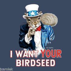 Vote Squirrel T shirt Hillary Trump Birdseed Uncle Sam Cotton S M L XL XXL NWT #Gildan #GraphicTee