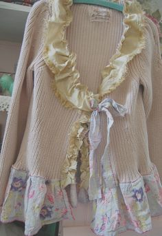 RESERVED FOR MELISSA Shabby Pink Sweater Altered Clothing Prairie Girl Rustic Cotton Eco Upcycled Vintage Silk BoHo Alternative Cowgirl . $68.50, via Etsy.