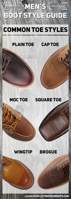 Common men's boot toe styles. Everything from cap toe to brogue boots. Learn more about boots with our ultimate men's boot guide at: http://www.findyourboots.com/boot-toe-styles-mens-style-guide/