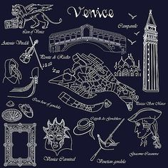 Venice in miniature by Marina Usmanskaya  #MarinaUsmanskayaFineArtDigitalArt#Venice#Italy#Blue#FineArtPrint