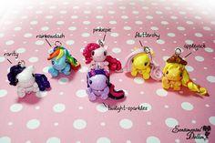 My Little Pony Chibi Kawaii Polymer Clay Key Chains, Kawaii Polymer Clay Charms
