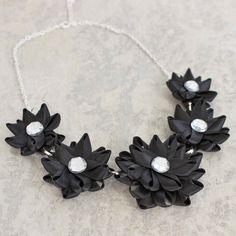 Black Necklace Black Flower Necklace Flower by PetalPerceptions