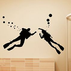Vinyl Wall Decals Scuba Diver Diving Ocean Sea Bathroom Decal Sticker Home Decor Art Mural Z632 WisdomDecalHouse http://www.amazon.com/dp/B00PSDXZGK/ref=cm_sw_r_pi_dp_Oj5Aub02VTQ8J