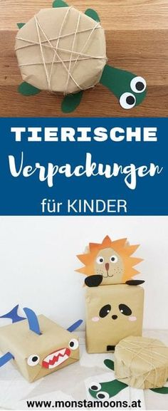 Tierische Verpackungen, Geschenke für Kinder verpacken, wrapping ideas, gift wrapping, christmas crafts, Kinder Verpackungen