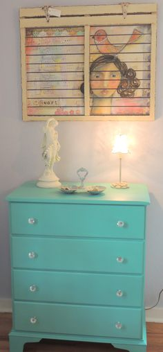Dresser painted with 50/50 mix of Chalk Paint® color Florence and Old White