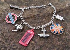 Travel To London Charm Bracelet by PhunkyJunkNJewels on Etsy, $15.00