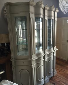 Stunning Display Cabinet Painted In Annie Sloan A Mix Of Old Ochre U0026 Paris  Grey To