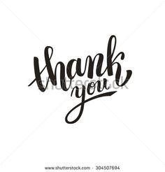 Thank you handwritten vector illustration, dark brush pen lettering isolated on white background