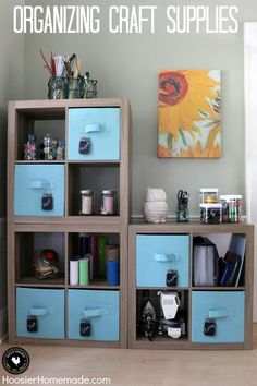 Do you have a messy and disorganized craft room? Here are creative ways to organize your craft room and make it even more beautiful and inspiring! Craft Room Storage, Craft Organization, Craft Rooms, Layout Design, Ikea, Cube Organizer, Space Crafts, Craft Space, Kids Crafts