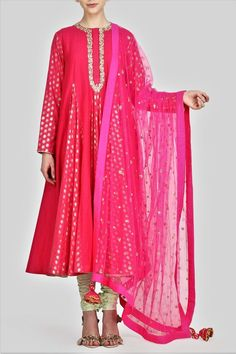 Hot Pink Embroidered Kalidaar Suit with Churidaar and Dupatta Achkan, Dress Suits, Cotton Silk, Indian Sarees, Indian Fashion, Designer Dresses, Hot Pink, Kimono Top, Tunic Tops