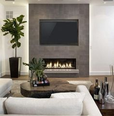 Product Highlights: Designed with front heating vent so that the unit can be flush mounted into wall Includes log set and crystal set Slim frame that features a large fireplace viewing area with life-like LED flames. Contemporary Fireplace, Home Fireplace, House Interior, Fireplace Tv Wall, Contemporary Fireplace Designs, Living Room Design Modern, Farm House Living Room, Living Room With Fireplace, Living Room Designs
