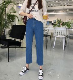 3 Size Denim Blue Solid Regular Cargo Pants Punk Style 2018 New Casual Skinny Female Jeans Jeans Outfit For Work, Jeans Outfit Winter, Work Jeans, Fall Jeans, Summer Jeans, Women's Jeans, Punk Fashion, Fashion Pants, Jean Outfits