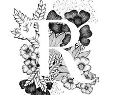 Letter J print  alfabet kalligrafie typografie Monogram