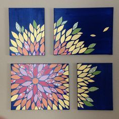 DIY Multi-Canvas Paper Wall Flower Art on 16x20 and 12x16 canvasses with scrapbook paper and acrylic paint