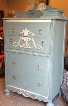 duck egg ascp and old white redo to vintage dresser, pulls in silver