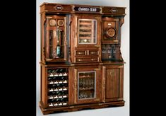Home Bar Furniture Unique cigar and wine cabinet with a humidor Custom Kitchen Cabinets, Wine Cabinets, Custom Cabinetry, Bar Furniture For Sale, Home Bar Furniture, Home Bars For Sale, Whiskey Room, Safe Vault, Backyard Office