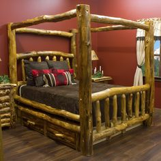 This rustic, aspen log canopy bed will really stand out in the bedroom of your home, cottage, cabin, or lodge. We're proud to help you find rustic log and reclaimed wood furniture that is heirloom Log Bedroom Furniture, Rustic Bedroom Furniture, Rustic Bedding, Reclaimed Wood Furniture, Home Decor Bedroom, Cool Furniture, Furniture Plans, Furniture Stores, Furniture Outlet