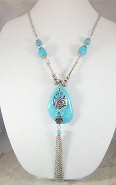 Turquoise Tassel Pendant lariat Necklace by ShadesofyouJewelry