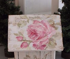 Shabby Chic Vintage Style Cabbage Roses Birdhouse with Pearl Perch - Debi Coules Romantic Art