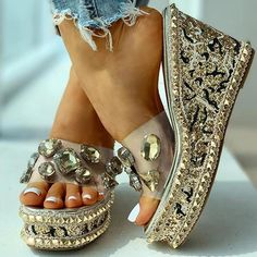 Cute Sandals, Wedge Sandals, Heeled Sandals, Summer Sandals, Slide Sandals, Jelly Shoes Outfit, Navy Blue Wedding Shoes, Open Toe Boots, Bridal Heels