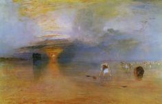 J. M. W. Turner, Spiaggia di Calais con la bassa marea: pescatrici che raccolgo le esche, 1830, Bury, Bury Art Gallery and Museum. Da notare la straordinaria abilità artistica con qui è stata resa la luce calda del sole all'orizzonte. L'opera si inserisce nel percorso di astrazione che svolse Turner, verso un'arte dal carattere sempre meno narrativo.
