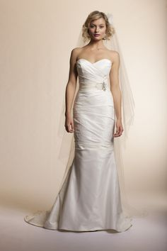 Taffeta mermaid wedding gown by Amy Kuschel at The Dress by Nicole in Wheaon, Illinois