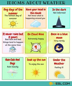 Weather Idioms and Sayings! List of common idioms and phrases about the weather in English with meaning and examples. Learn these weather idioms to help your En English Idioms, English Vocabulary Words, Learn English Words, English Writing, English Lessons, English Study, English Grammar, Book Writing Tips, Writing Words