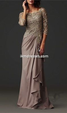 2016 Mother Of The Bride Dresses A-line 3/4 Sleeves Grown Chiffon Lace Long Mother Dresses Evening Dresses For Weddings -Special Occasion Dresses-Mother of the Bride Dresses