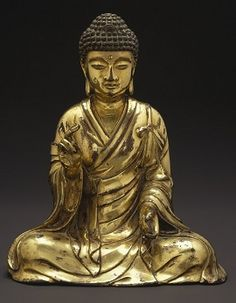 Seated Buddha Shakyamuni Northern China; Liao Dynasty, 965 - 1025 Gilt Bronze Brooklyn Museum, Gift of the Asian Art Council in memory of Mahmood T. Diba; Mary Smith Doward Fund, 1999.42