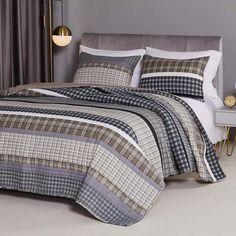 Modern Rustic Plaid Stripes Gray Quilt Set