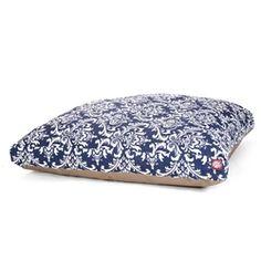 Large Rectangle Pet Bed Navy Blue French Quarter | Majestic Pet