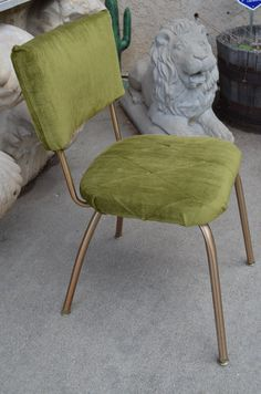 1960s Gold Metal U0026 Green Velvet Vintage Kitchen Chair, Funky Mid Century  Modern, Comfy Kitschy, Dining Table Or Office Chair