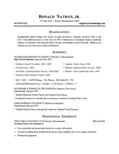 Example Of College Student Resumes | College Admission   Gifted Student  Resume Example  Objective For Student Resume
