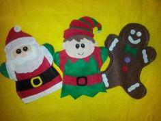 Christmas, Santa, Elf, Gingerbread man  Felt hand puppets