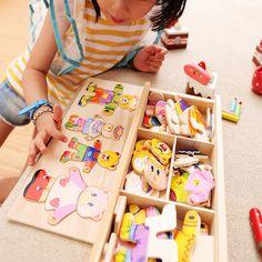 Tamiya Brinquedos Bebé Oso Cambiarse de Ropa Rompecabezas De Madera Rompecabezas de Bloques de Construcción de La Primera Infancia Juguetes de Regalo 1-4y 72 unids Maquetas