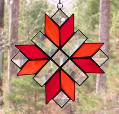 Stained Glass Suncatcher  Cross Quilt Pattern in Red and