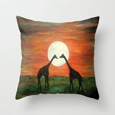 Full Moon Giraffe Love-Inspired by TaLins!!! Throw Pillow by Rokin Art by RokinRonda - $20.00