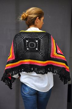 Hand made unique cotton crochet poncho / Black yellow by SophieCRO