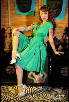 Pinup Couture Collette Button Down Dress in Green Sateen with Matching Sash Belt - I just really wish this didn't have cap sleeves!
