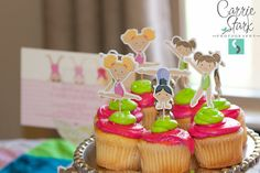 Gymnastics Party - Set of 24 Assorted Gymnast Cupcake Toppers by The Birthday House via Etsy