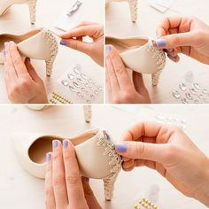 Diy Wedding Shoes In 2020 2 Quick Easy Diy Ways to Customize Your Wedding Day Heels Diy Wedding Heels, Blue Wedding Shoes, Wedding Boots, Shoe Makeover, Shoe Crafts, Embellished Shoes, Old Shoes, Decorated Shoes, Bride Shoes