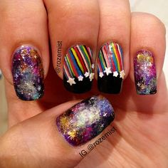 Creative Nail Designs, Creative Nails, Nail Art Designs, Galaxy Nails, Star Nails, Fabulous Nails, Shooting Stars, Nail Tutorials, Nail Ideas