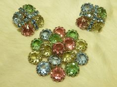 Stunning Vintage Fruit Salad Brooch and Earrings by GliterzbySal, $35.00