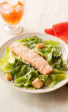 Salmon Caesar Salad — Make 4 people happy with this easy 30-minute Salmon Caesar Salad. So simple yet so delicious!