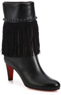 Christian Louboutin Tudor Joplin Studded Fringe Booties Fringe Booties, Leather Booties, Crazy Shoes, Me Too Shoes, Red Sole, Christian Louboutin Shoes, Tudor, Bootie Boots, Footwear